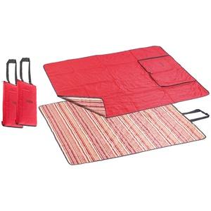 PEARL Strandmatte: 2er-Set 3in1-Multi-Picknickdecken mit Sitzkissen & Zudecke, 150x130 cm (Picknick-Decke)