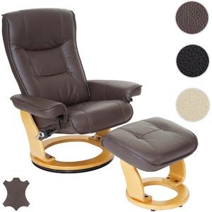 MCA Relaxsessel Hamilton, Fernsehsessel Hocker, Echtleder 130kg belastbar ~ braun, naturbraun