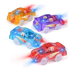 kueatily Spielzeug-Auto Schienenfahrzeuge mit 5 LED-Leuchten, Spielzeugrennwagen, elektrischer Eisenbahnwagen mit DIY-Aufklebern für Kinder ab