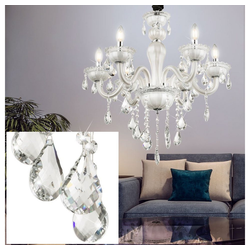etc-shop Kronleuchter, Decken Pendel Hänge Lampe Leuchte Kronleuchter Glas Kristalle Wohn Ess Zimmer
