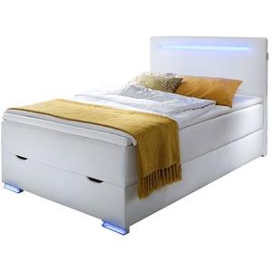 Bettkasten-Boxspringbett 140x200 cm weiß mit LEDs und USB - Iniko