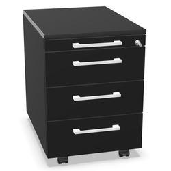Palmberg Rollcontainer ORGA PLUS 1-3-3-3 schwarz mit Griffen weiß