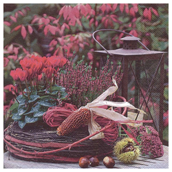 Linoows Papierserviette 20 Servietten Lila Herbst Arrangement von Blumen, Motiv Herbst Arrangement von Blumen & Kastanien