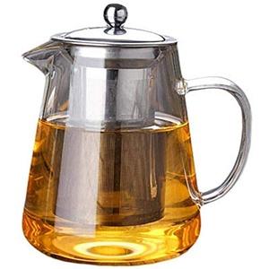 Jourbon Glaskrüge Teekanne Glas mit Siebeinsatz Glasteekanne Borosilikatglas Hitzebeständig Teebereiter Wasserkaraffe