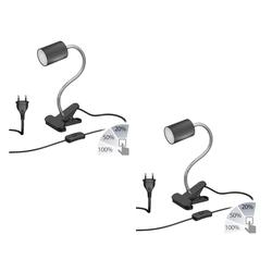 Klemmleuchte WAIKA Schwanenhals und Schalter schwarz matt + LED Lampe weiß 3-Stufen Dimmen 540lm, 2 Stk.