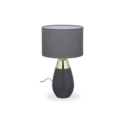 relaxdays Nachttischlampe XL Nachttischlampe Touch grau