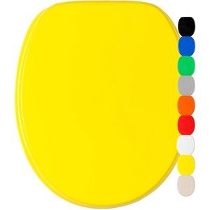 WC Sitz mit Absenkautomatik, viele einfarbige WC Sitze zur Auswahl, hochwertige und stabile Qualität aus Holz (Gelb)