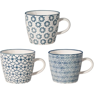 Bloomingville Tassen Kristina, saphirblau, Keramik, 3er Set