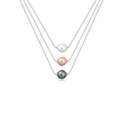 Elli Perlenkette Layer Kette Perlen Kristalle 925 Silber