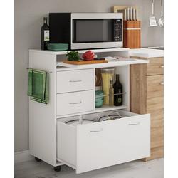 VCM Küchenwagen Küchenwagen Kicha mit Rollen weiß