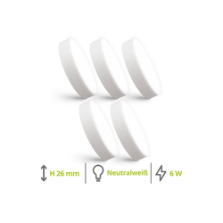 linovum LED Aufbaustrahler Mini LED Aufbauspot paniled Ø 90 x 26 mm im 5er Set - 6W neutralweiß 230V - Aufbauleuchte