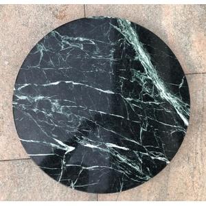 Naturstein Tischplatte grün schwarz geadert rund Steinplatte Marmorplatte Stein