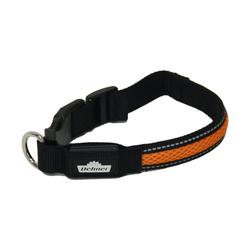 Dehner Hunde-Halsband LED Hundehalsband Collar, Mesh, schwarz/orange 2,5 cm x 63 cm