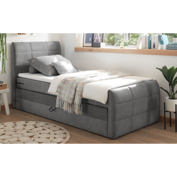 Black Red White Boxspringbett Kuba 1 in dark grey