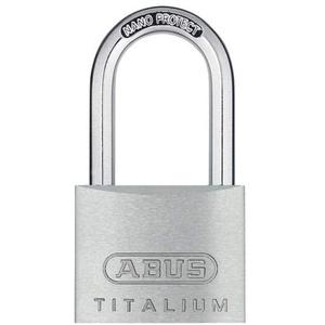 ABUS Vorhängeschloss Titalium 64TI/40HB40 gl.-6411 - gleichschließend & mit hohem Bügel - Kellerschloss mit Schlosskörper aus Spezial-Aluminium - ABUS-Sicherheitslevel 5
