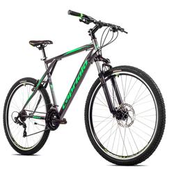 breluxx Mountainbike 29 Zoll Mountainbike Hardtail FS Disk Adrenalin Sport grau, FS + Scheibenbremsen, 21 Gang Shimano Tourney Schaltwerk, Kettenschaltung