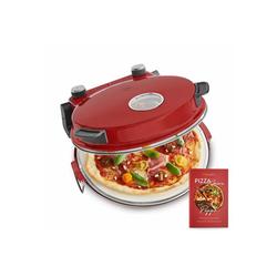 Springlane Pizzaofen Peppo, Oberhitze Backofen, Inkl. Pizzaheber & Rezeptheft, rot rot