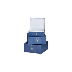 Basispreis* Aufbewahrungsboxen, 3er-Set ¦ blau ¦ Papier ¦ Maße (cm): B: 33,2 H: 14,8 T: 25,2