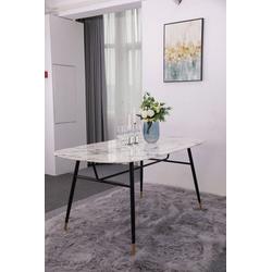 my home Esstisch Alannah, Tischplatte in Marmoroptik weiß 160 cm x 77 cm x 90 cm