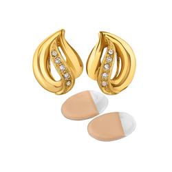 NEUMANN Paar Ohrclips Ohrclips Damen ohne Ohr-Löcher Nina (elegant, mit SWAROVSKI Kristallen), mit Geschenktüte, Geschenke für Frauen goldfarben