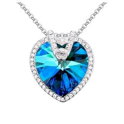 BUNGSA Kette mit Anhänger Kette Kristallherz Silber Messing Damen (inkl. Schmuckbeutel aus Organza), Halskette Necklace Damen Herren Mädchen