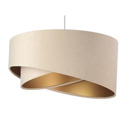Licht-Erlebnisse Pendelleuchte ABBY Pendelleuchte Stoffschirm Beige Gold wohnlich modern Hängelampe Esszimmer
