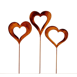 BigDean Gartenleuchte Set 3x Herzen im Edelrost Stil