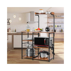 COSTWAY Küchenregal Küchenregal, mit Metallkorb und 5 Haken, Mikrowelleregal mit verstellbaren Füßen braun