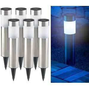 6er-Set elegante Edelstahl-Solar-LED-Wegeleuchten, mit Lichtsensor