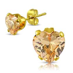 BUNGSA Ohrstecker-Set Ohrstecker Kristallherz Beige Gold aus Edelstahl (inkl. Schmuckbeutel aus Organza), Ohrschmuck Ohrringe Frauen Geschenk Liebe