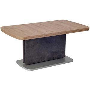 Funktions Couchtisch in Eiche Bianco und Beton Grau ausziehbar und höhenverstellbar