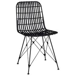 Esstischstühle in Schwarz Rattan (2er Set)