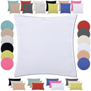 Bestlivings Kissenhülle, Kissenbezug mit wahlweise einem Innenkissen, Optik: Satin matt, viele versch. Größen weiß eckig - 50 cm x 50 cm