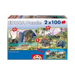 """Educa Puzzle Puzzle """"Dinosaur World"""", 2x100 Teile, Puzzleteile"""
