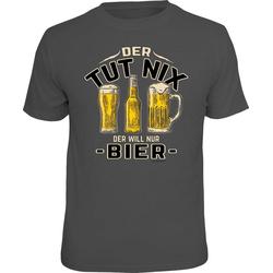 Rahmenlos T-Shirt mit tollem Print Der tut nix - Der will nur Bier grau M