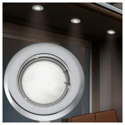 etc-shop LED Einbaustrahler, 5er Set Spot Strahler Einbaustrahler Chrom Wohnzimmerlampe Stahl rund modern