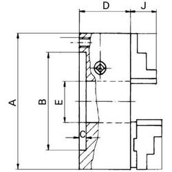 Format Dreibacken-Drehfutter Guss 200/55mm DIN 6350