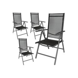 tectake Gartenstuhl 4 Aluminium Gartenstühle grau