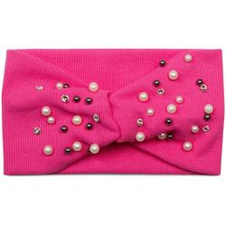styleBREAKER Haarband Feinripp Haarband mit Perlen und Strass, 1-tlg., Feinripp Haarband mit Perlen und Strass rosa