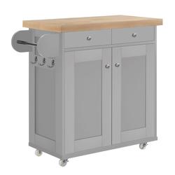 Portland Portable Kitchen Island Trolly Cart with Oak Top in Grey