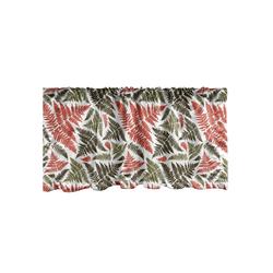 Scheibengardine Vorhang Volant für Küche Schlafzimmer Dekor mit Stangentasche, Abakuhaus, Botanik Frond Pflanze Fiederblättern 137 cm x 30 cm