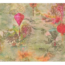 Vliestapete Asian Fusion, geprägt, asiatisch, floral bunt