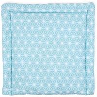 KraftKids Wickelauflage weiße Diamante auf Pastel Blau, extra Weich (500 g/qm), mit antiallergenem Vlies gefüllt 85 cm x 75 cm