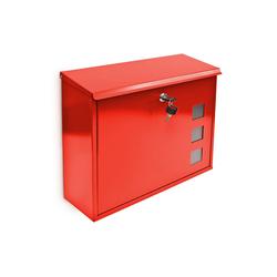 relaxdays Briefkasten Briefkasten Metall 3 Fenster Farbauswahl rot