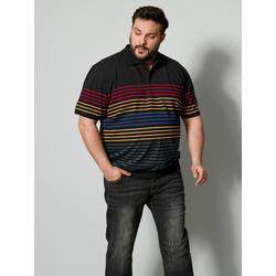 Poloshirt Men Plus Schwarz/Gelb/Blau
