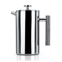 Intirilife Kaffeekanne Intirilife Kaffeekanne in SILBER – 1l Kaffeebereiter nach französischem Pressensystem aus Edelstahl, Kaffeekanne – 1l Kaffeebereiter