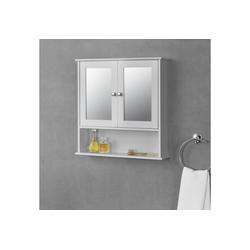 en.casa Badezimmerspiegelschrank Linz Badezimmerschrank mit Spiegel und Ablage 58x56x13cm Badschrank MDF weiß weiß