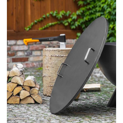 Stahldeckel mit Rand für Feuerschale (Größe Deckel Feuerschale: Ø 102,0 cm  mit 4 mm Rand)