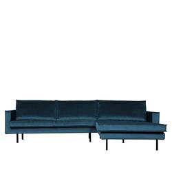 Ecksofa in Blau Samt 45 cm Sitzhöhe