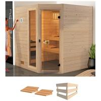 weka Sauna Valida Eck 2 mit Glastür und Fenster